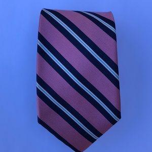 Nautical Necktie Silk Stripe Pink Navy Like New